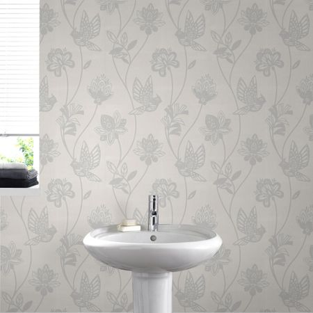 Graham & Brown White / silver elegance wallpaper