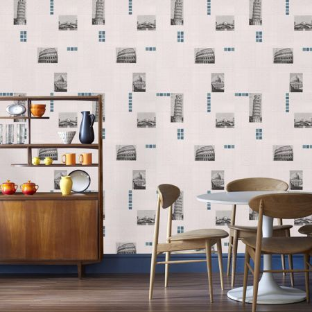 Graham & Brown Blue italia tile / white wallpaper