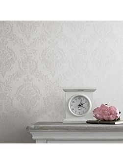 White shimmer damask wallpaper