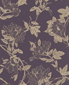 Graham & Brown Purple amethyst/gold jiao wallpaper