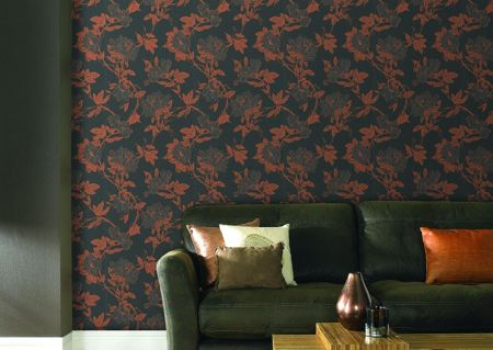 Graham & Brown Charcoal/bronze jiao wallpaper
