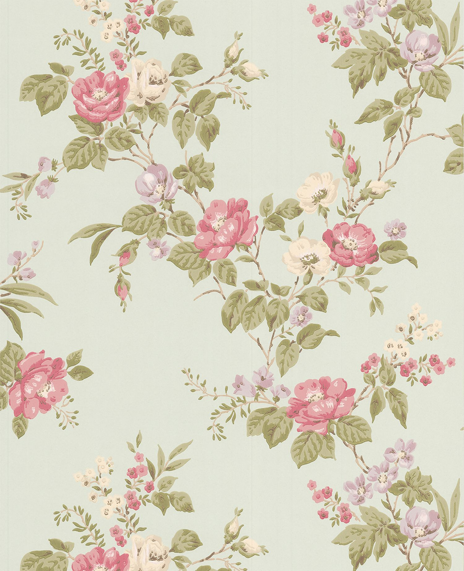 Light blue duck egg/pink/lime cottage garden wall
