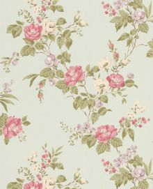 Graham & Brown Light blue duck egg/pink/lime cottage garden wall