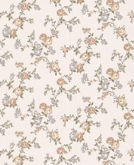 Graham & Brown Rose cream shimmer cottage green garden wallpaper