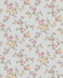 Graham & Brown Rose silver/heather/yellow cottage wallpaper