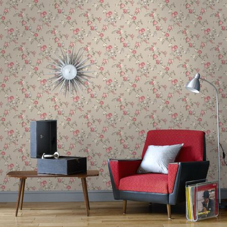Graham & Brown Rose taupe/raspberry/cottage wallpaper