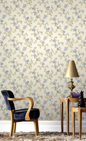 Graham & Brown Rose buttermilk/blue/ cottage wallpaper