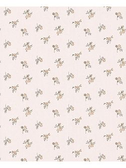 Cream shimmer green rosebud wallpaper