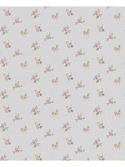 Silver/heather/yellow rosebud wallpaper