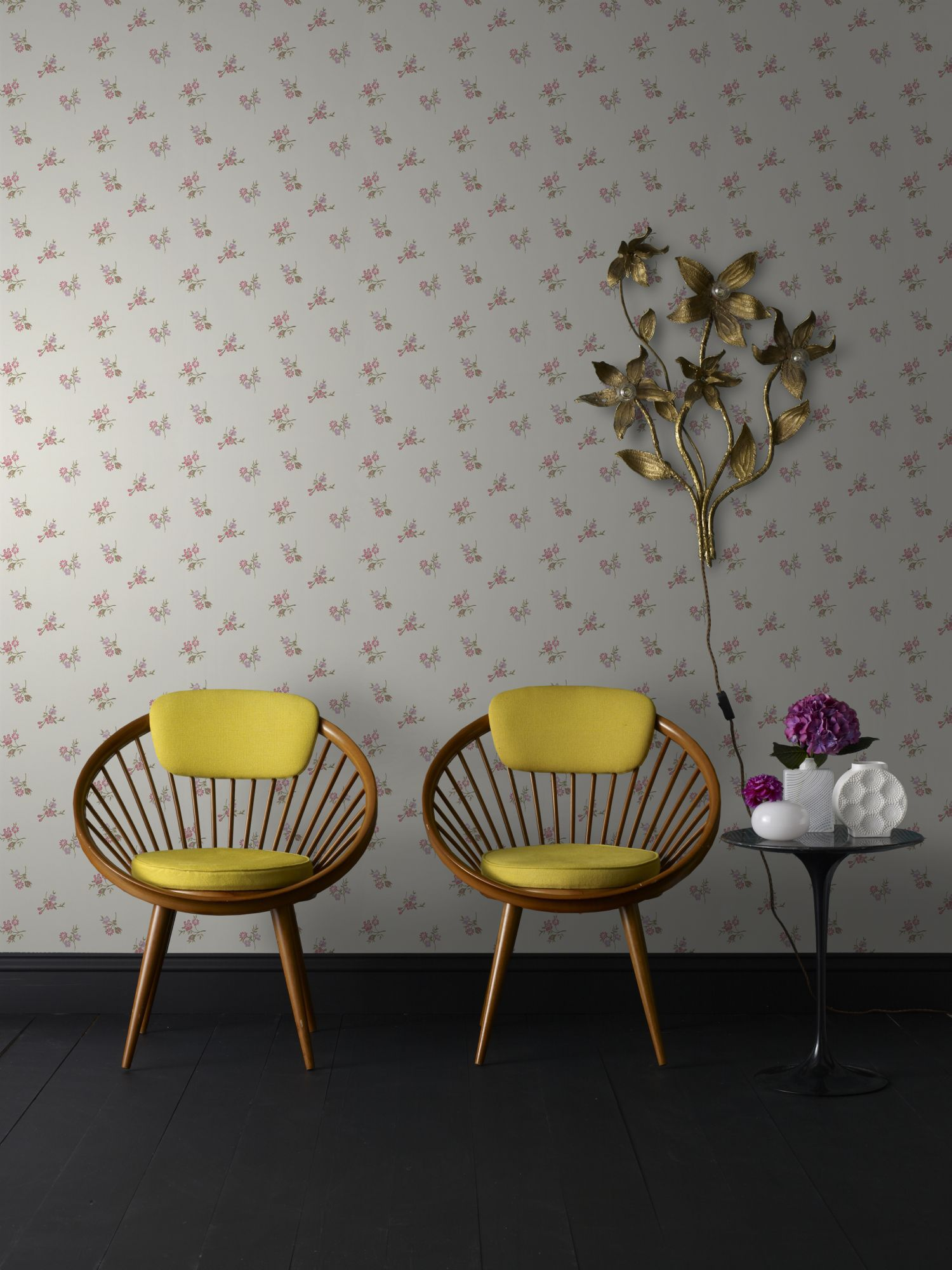 Light blue duckegg/pink/lilac rosebud wallpaper