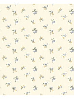 Cream buttermilk/blue/yellow rosebud wallpaper