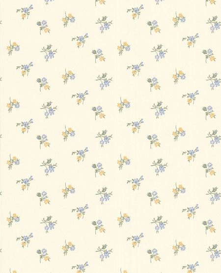 Graham & Brown Cream buttermilk/blue/yellow rosebud wallpaper