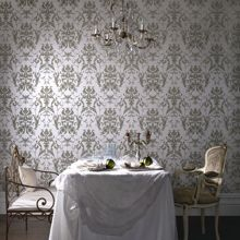 Cream bewitched shmmer/green wallpaper