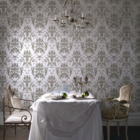 Graham & Brown Cream bewitched shmmer/green wallpaper