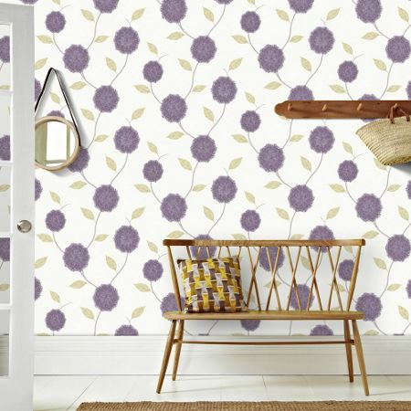 Graham & Brown Purple Celeste Lapis Floral Wallpaper