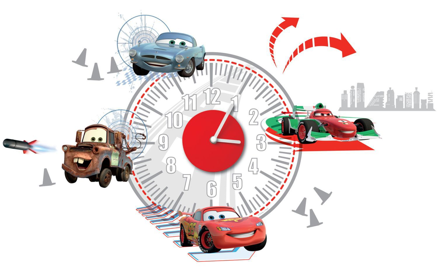 Cars Sticker Clock