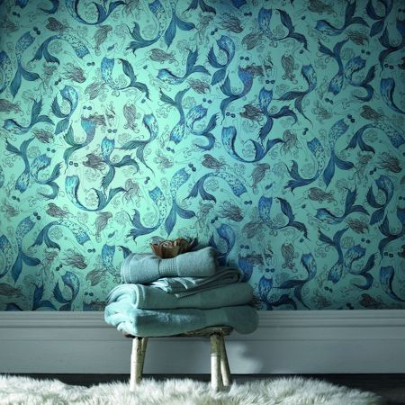 Graham & Brown Pale green mermaids lagoon wallpaper