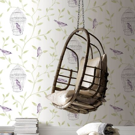Graham & Brown White & Violet Bird Cage Wallpaper