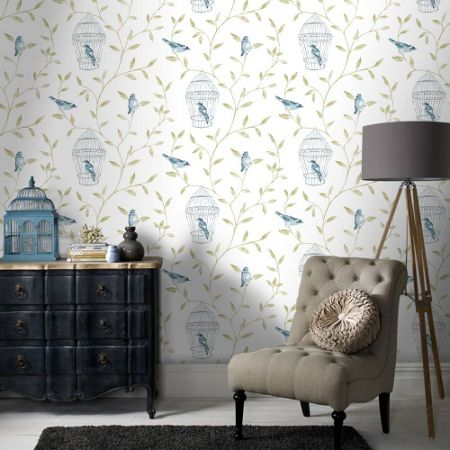 Graham & Brown Blue Bird Cages Printed Wallpaper