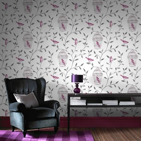 Graham & Brown Hot Pink Bird Cage Printed Wallpaper