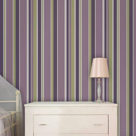 Graham & Brown Violet Rico Striped Wallpaper