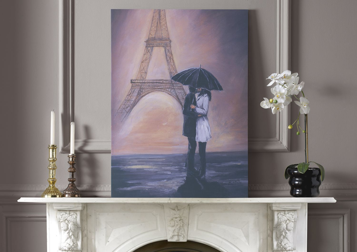 Kissing in paris wall art