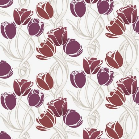 Graham & Brown Scarlet Chatenooga Tulips Scarlet Wallpaper