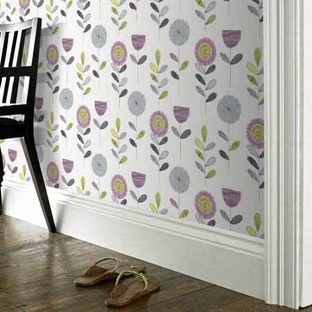 Graham & Brown White & Pink Sketch Flower Wallpaper