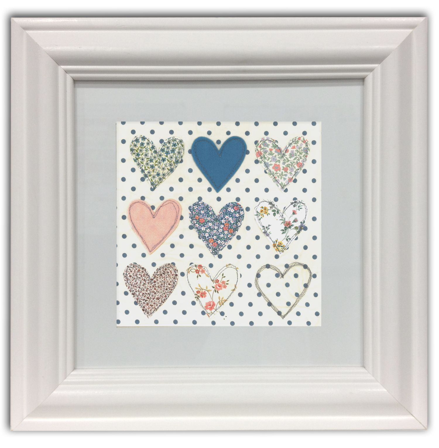 Polka dot hearts framed wall art print