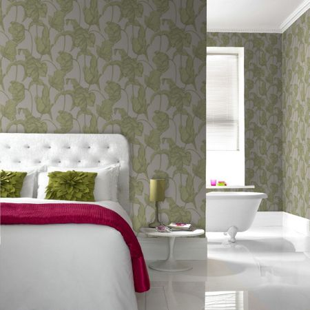 Graham & Brown Soft green harem tulip wallpaper