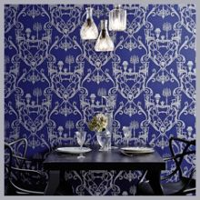 Graham & Brown Blue/silver damasquerade wallpaper