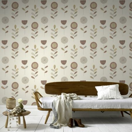 Graham & Brown Orange Sketch Floral Wallpaper