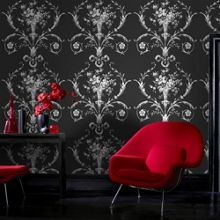 Graham & Brown Black De Lacey Damask Wallpaper