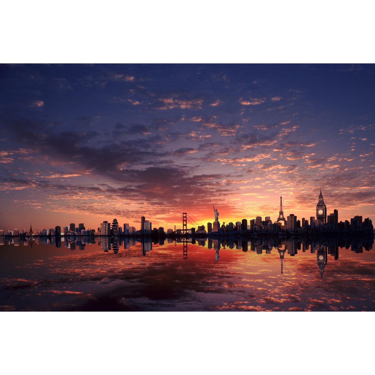 Cities sunrise wallart