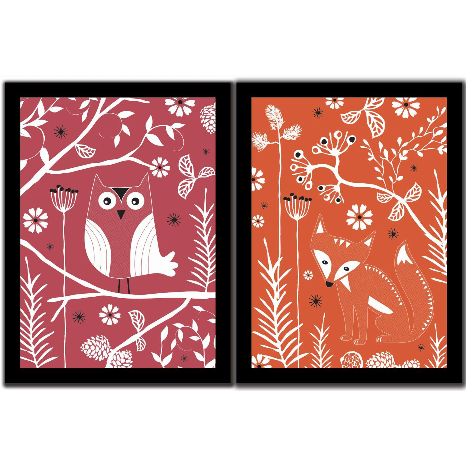 Fox & owl duo wallart