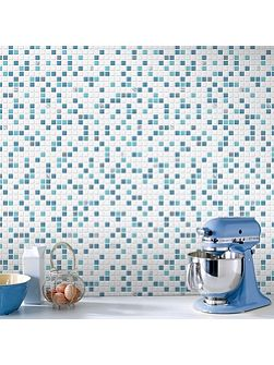 Blue & White Check Kitchen & Bathroom Wallpaper