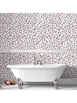 Red & White Checker Kitchen & Bathroom Wallpaper