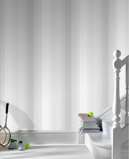 Graham & Brown Grey Chambray Stripe Wallpaper