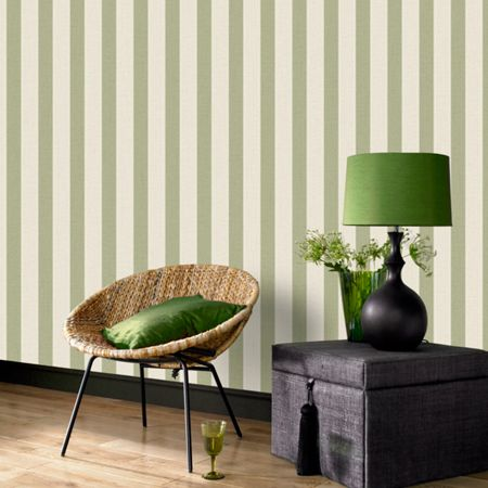 Graham & Brown Green Ticking Stripe Wallpaper