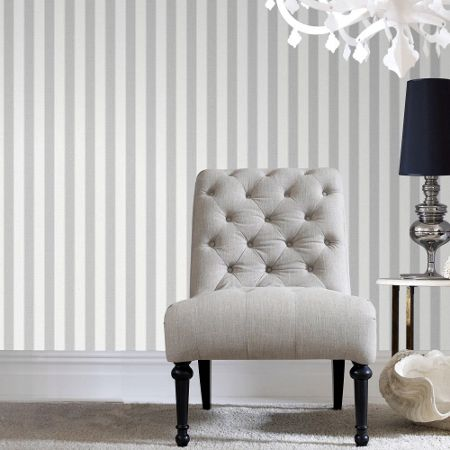 Graham & Brown Grey Ticking Stripe Wallpaper