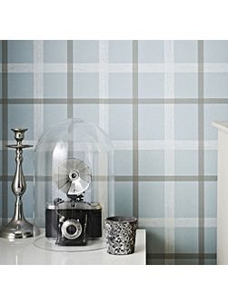 Graham & Brown Blue Plaid Wallpaper