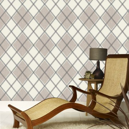 Graham & Brown Charcoal / Taupe Argyle Wallpaper