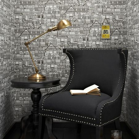 Graham & Brown Black and White Tudor Houses Wallpaper