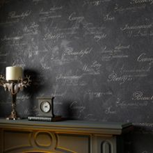 Graham & Brown Charcoal Concrete Script Wallpaper