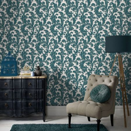 Graham & Brown Teal Capulet Wallpaper