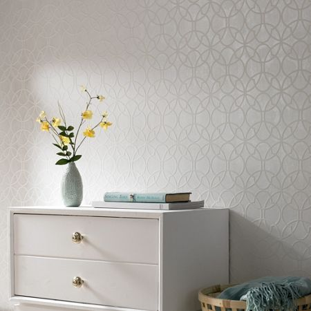 Graham & Brown White / Mica Origin Wallpaper