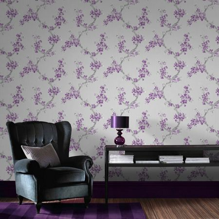 Graham & Brown Plum / Grey Mercutio Wallpaper