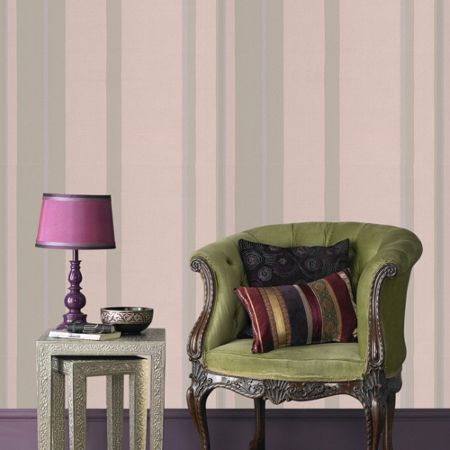 Graham & Brown Taupe Kelly Hoppen Stripe Wallpaper