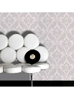 Soft Grey Kelly Hoppen Vintage Flock Wallpaper