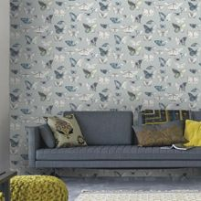 Graham & Brown Duck Egg Printed Butterflies Wallpaper